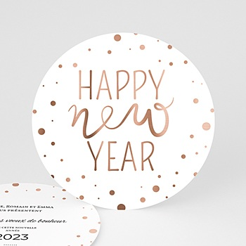 Carte de voeux ronde happy New Year à personnaliser
