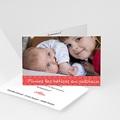 Faire-Part Naissance Fille - Imprimé fleuri rouge 4448 thumb