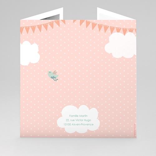 Faire-Part Naissance Oiseau Dans les nuages avec une banderole de fête gratuit
