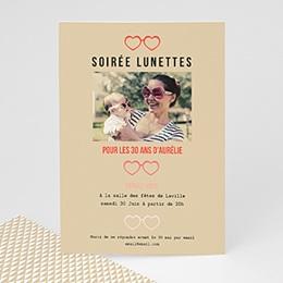 Invitations Anniversaire adulte Soirée Lunettes