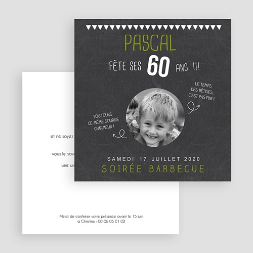Invitation Anniversaire Adulte - Ardoise et Olive 44499 preview