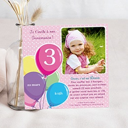Carte invitation anniversaire fille - Ballons 44512