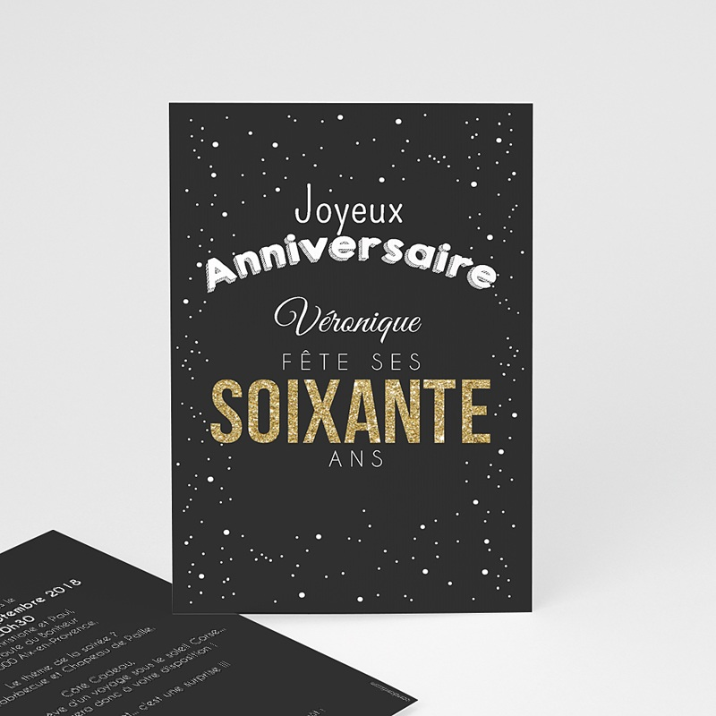 Carte Invitation Anniversaire Adulte 60 doré