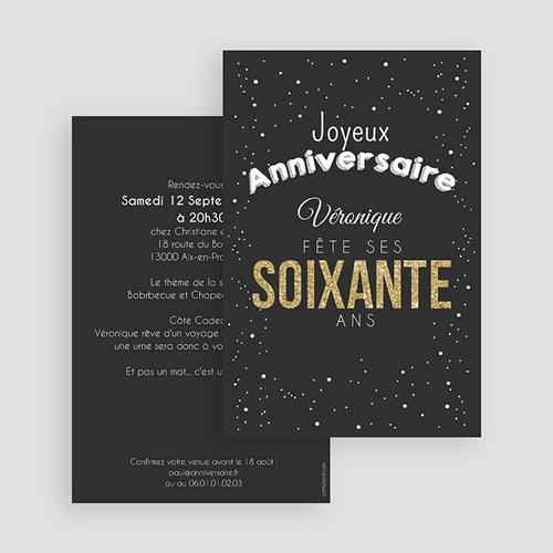 Invitation Anniversaire Adulte - 60 doré 44517 preview