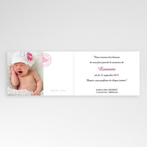 Faire-Part Naissance Fille - Imprimé fleuri rose 4453 thumb