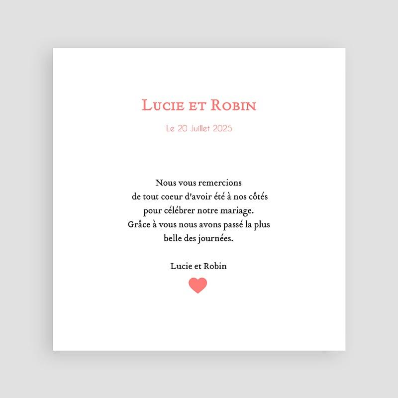 Remerciements Mariage Personnalisés Coeur Rose pas cher