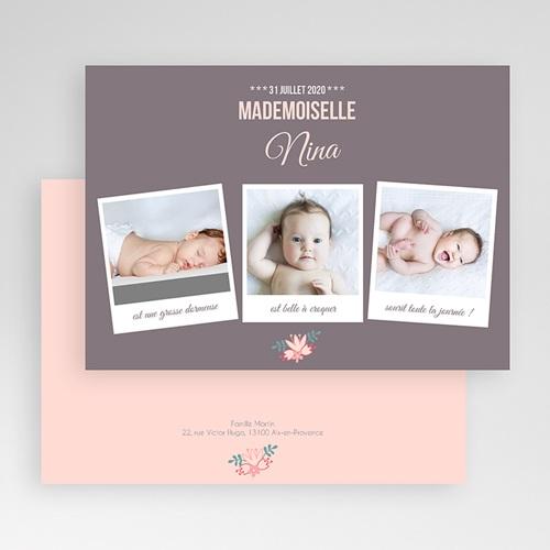 Faire-Part Naissance Fille Poses bébé gratuit