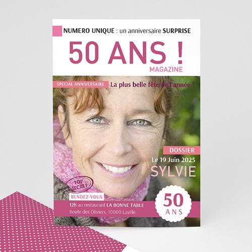 Carte invitation anniversaire adulte 50 ans Journal
