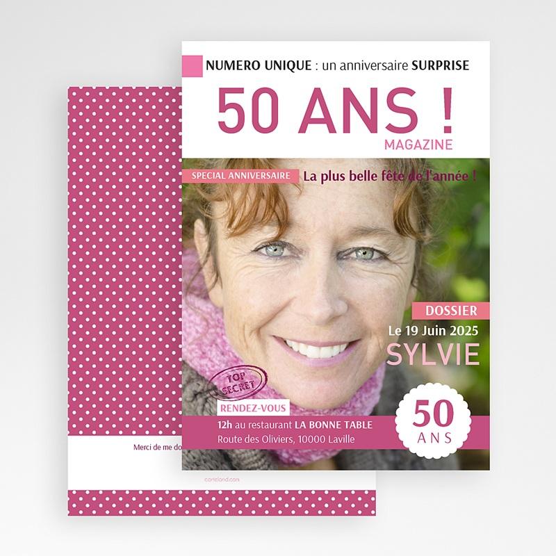 Carte Invitation Anniversaire Adulte 50 ans Journal gratuit