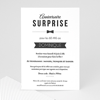 Carte invitation anniversaire adulte black tie only personnalisable