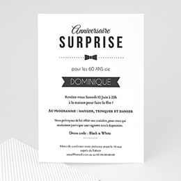 Carte invitation anniversaire adulte - Black Tie Only 44628