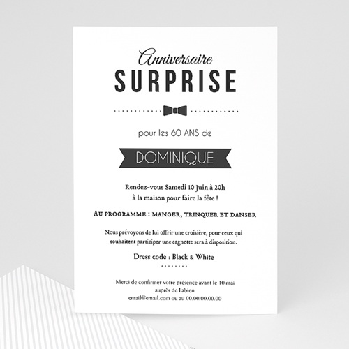 invitation anniversaire adulte black tie only. Black Bedroom Furniture Sets. Home Design Ideas