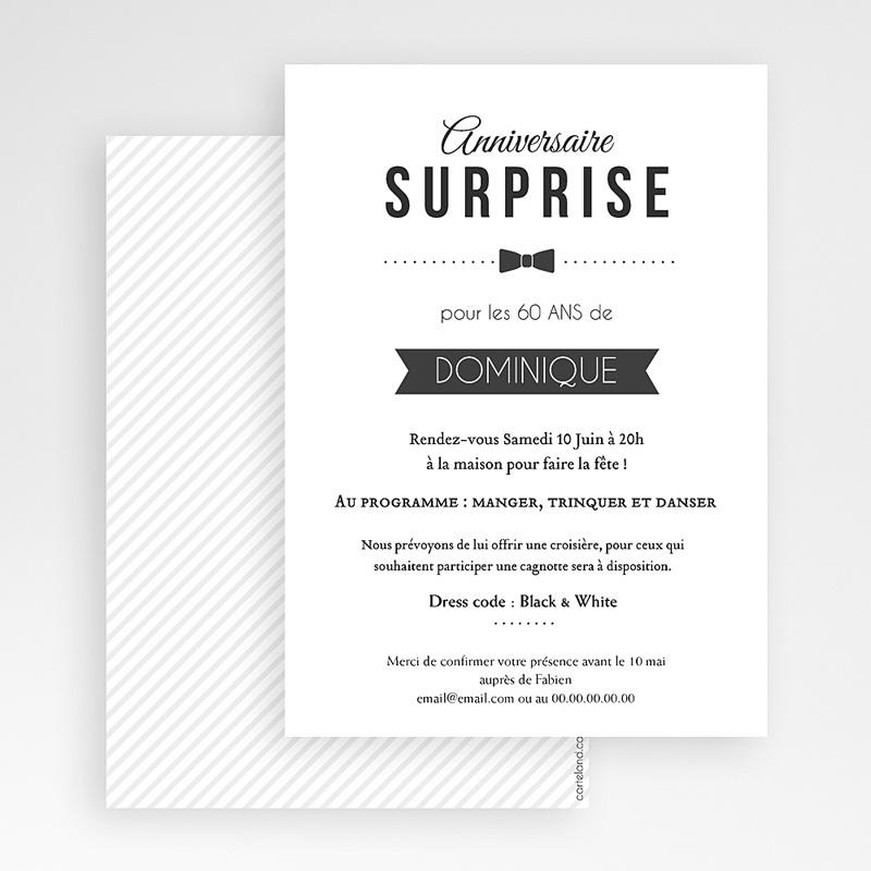 Carte Invitation Anniversaire Adulte Black Tie Only gratuit