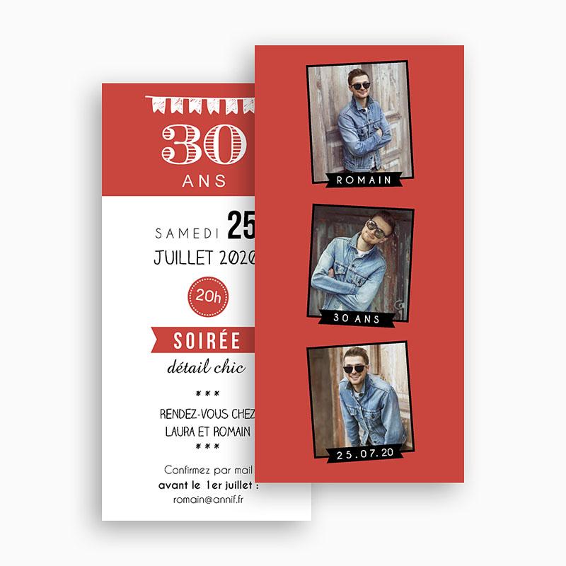 Carte invitation anniversaire adulte Photomatick 30 gratuit
