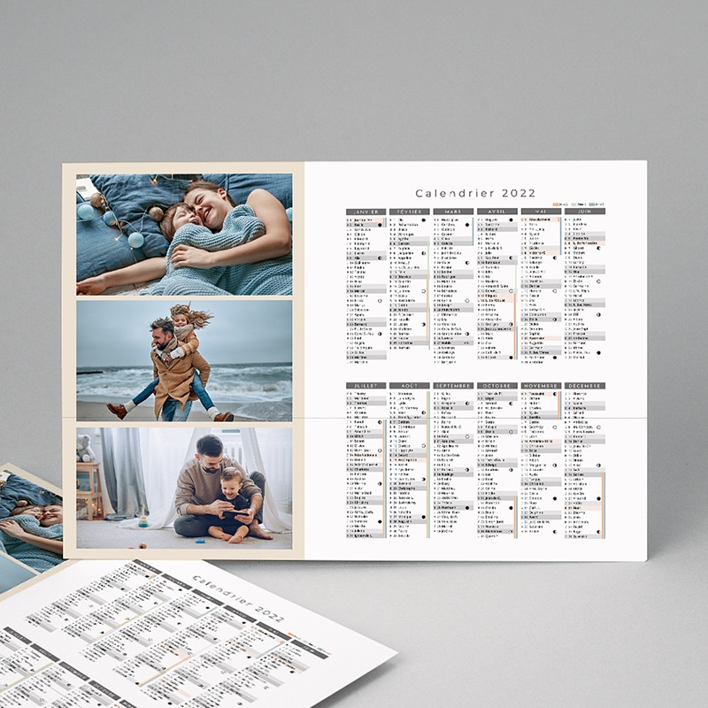Calendrier Monopage L'année en trio -Beige