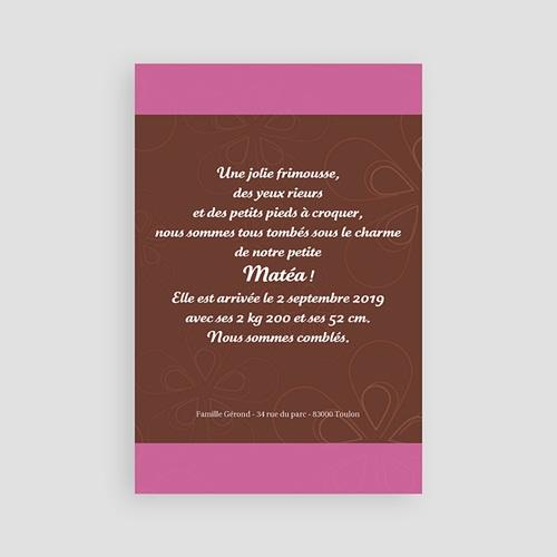 Faire-Part Naissance Fille - Chocolat et Rose 4473 thumb