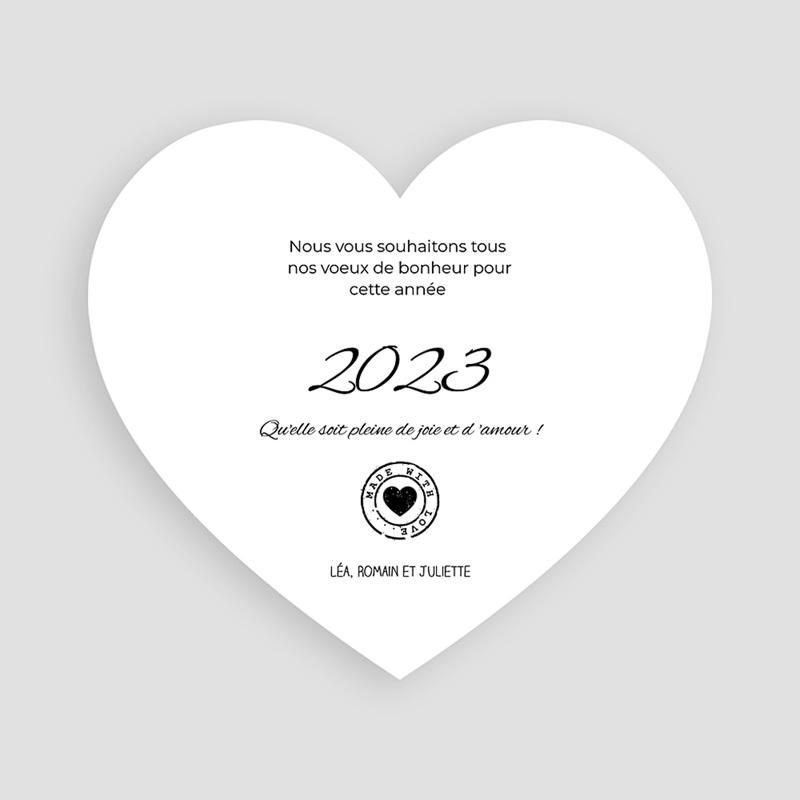 Carte de voeux Happy New Year Coeur pas cher
