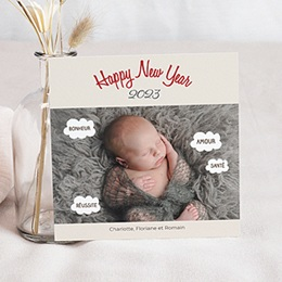 Carte de voeux Happy New Year grande photo bulles pensées