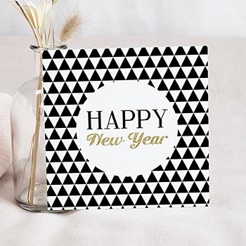 Carte de voeux Happy New Year Black et White doré personnalisable