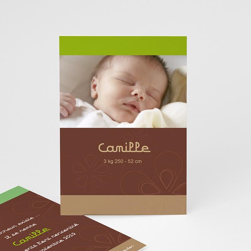 Faire-part naissance fille Chocolat, pistache et marron glacé