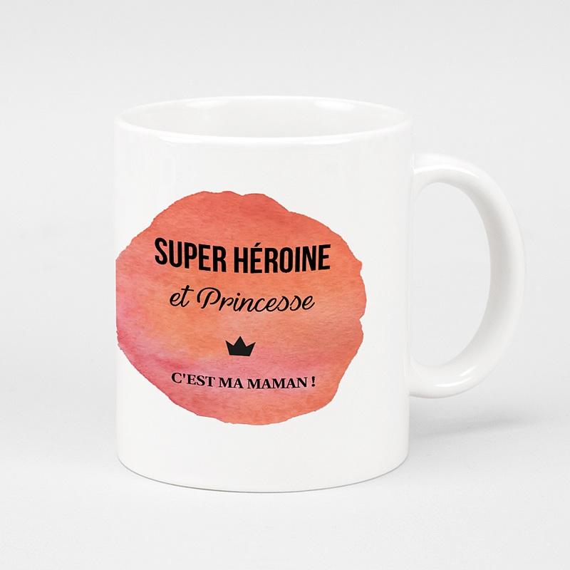 Mug Personnalisé Fête des Mères Idée cadeau original Super héroine et princesse c'est ma maman