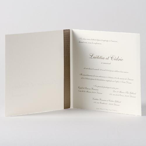Faire-Part Mariage Traditionnel - Billet traditionnel enrubanné taupe 45675 preview