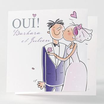 Faire-Part Mariage Traditionnel - Le baiser des mariés - 0