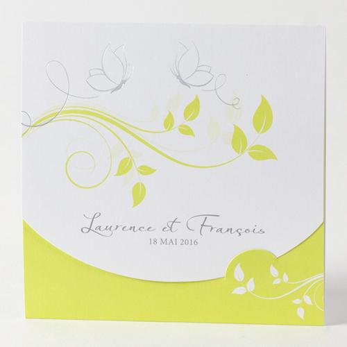 Faire-Part Mariage Traditionnel - Fleurs blanche et anis 45702