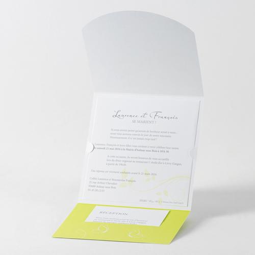 Faire-Part Mariage Traditionnel - Fleurs blanche et anis 45703 preview