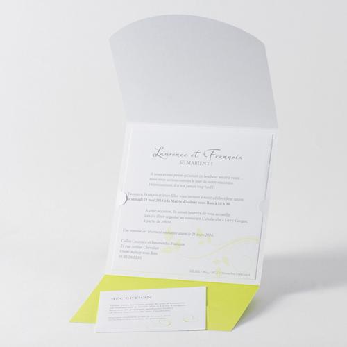 Faire-Part Mariage Traditionnel - Fleurs blanche et anis 45704 preview