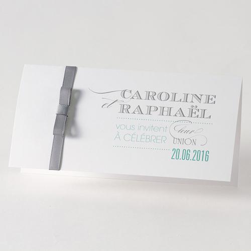Faire-Part Mariage Traditionnel - Enrubanné gris 45751