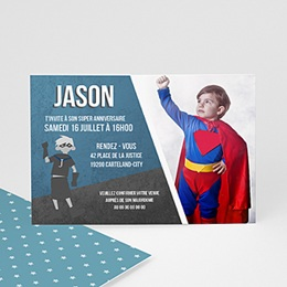 Carte invitation anniversaire garçon - Héro 45793