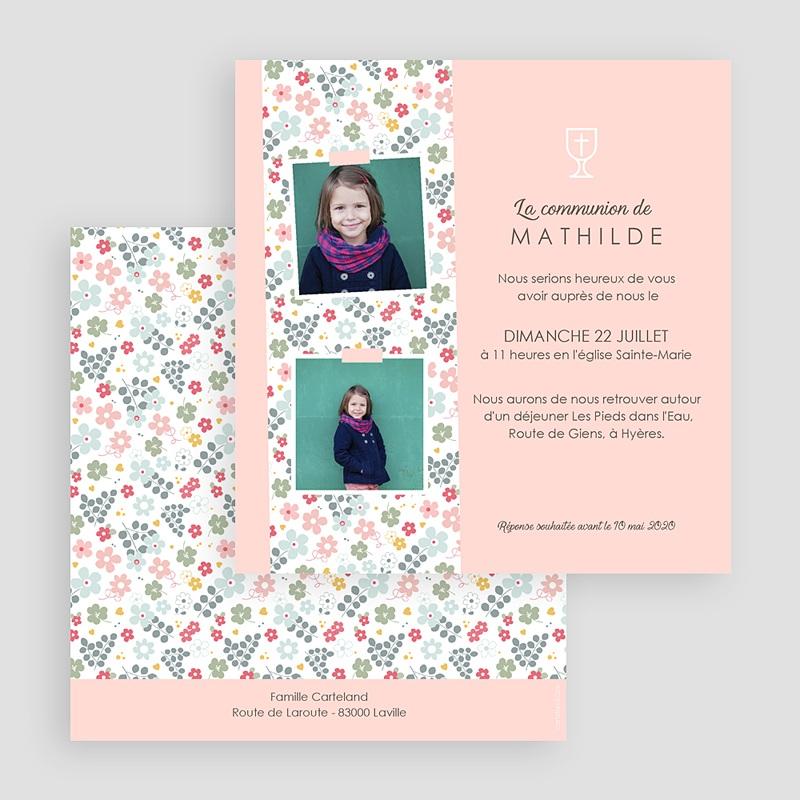 Faire-Part Communion Fille Floralies gratuit