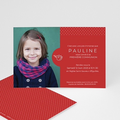 Faire-part Communion Fille - Pois rouges 45829 thumb
