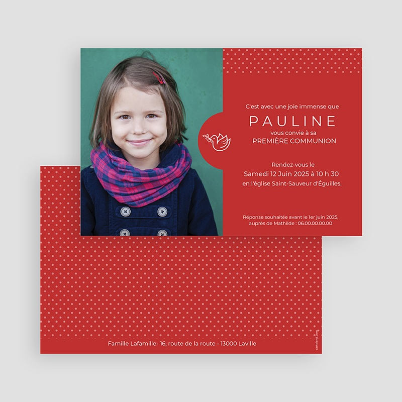 Faire-part Communion Fille - Pois rouges 45831 thumb