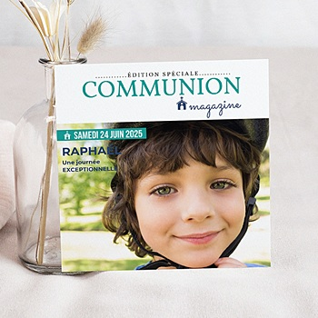 Faire-part de communion garçon Communion Magazine