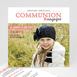 Faire-part Communion Fille - Gazette Communion - 0