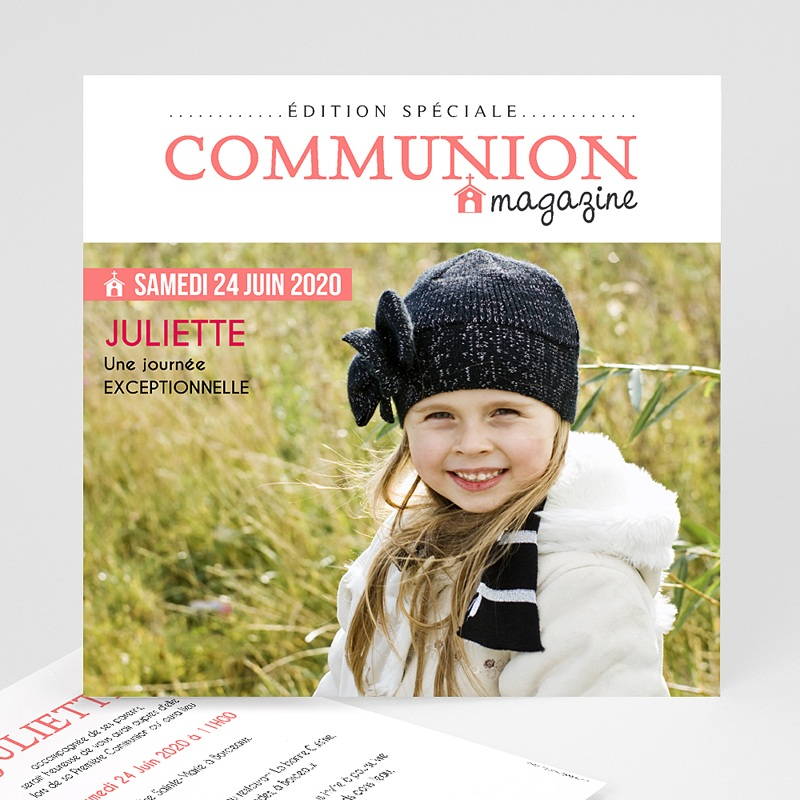Faire-part communion fille Gazette Communion