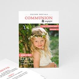 Carte remerciement communion fille Magazine