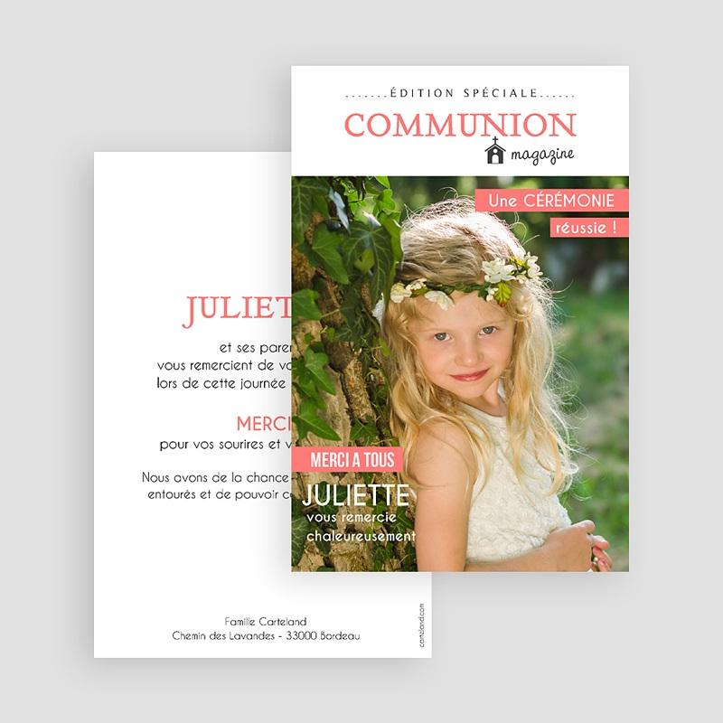 Carte Remerciement Communion Fille Magazine gratuit