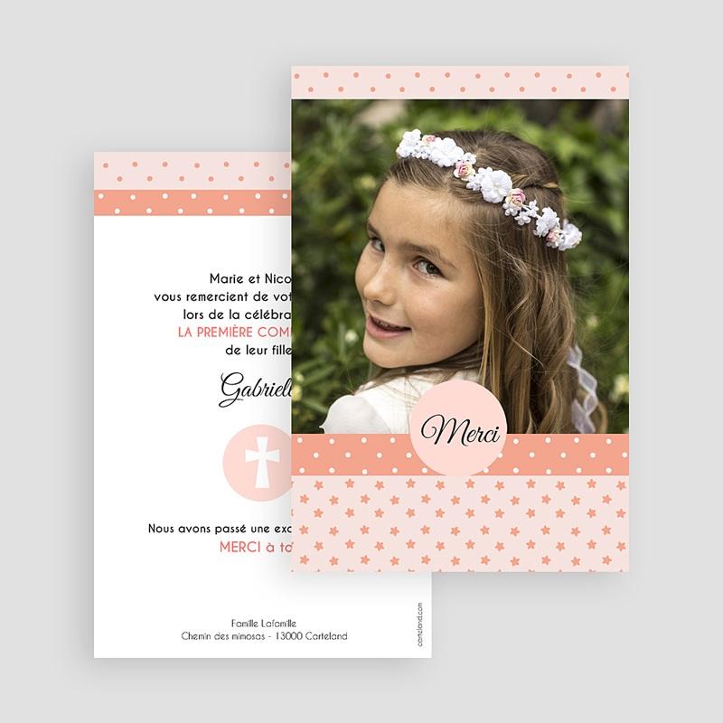 Carte remerciement communion fille Merci en Rose gratuit