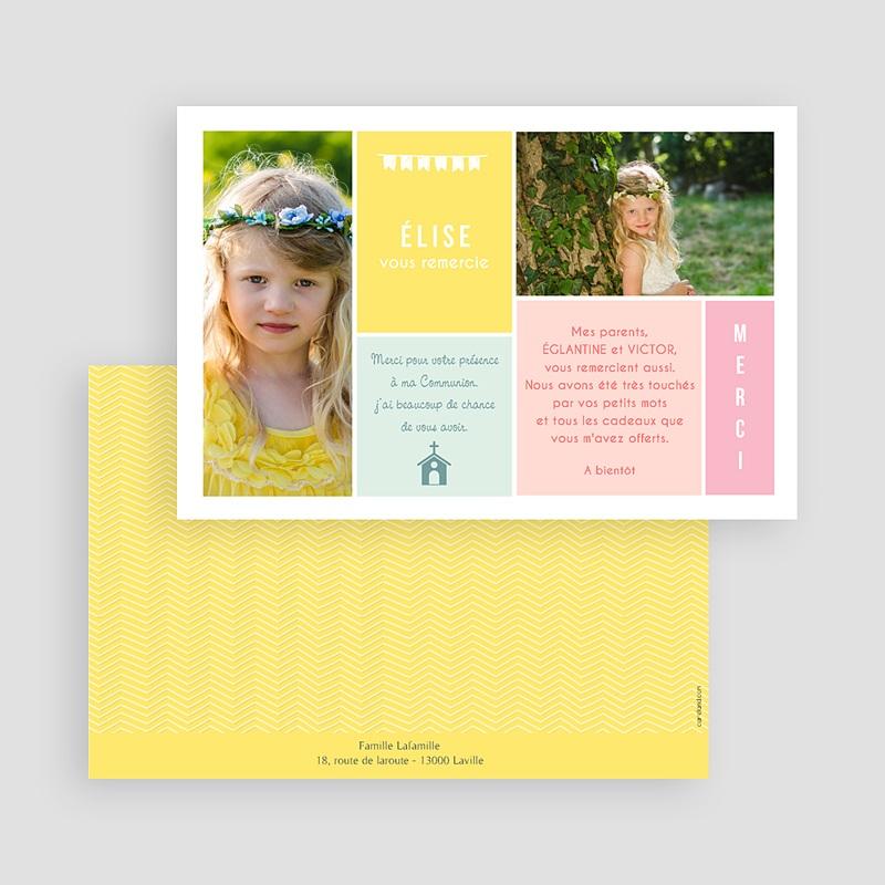Carte Remerciement Communion Fille Couleur gratuit