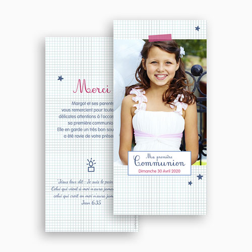 Remerciements Communion Fille - Premier hostie, merci 45926 thumb