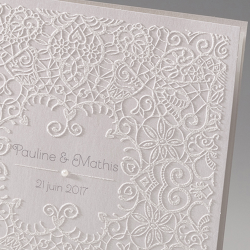 Faire-Part Mariage Traditionnel - Dentelle et Romantisme 45981 preview