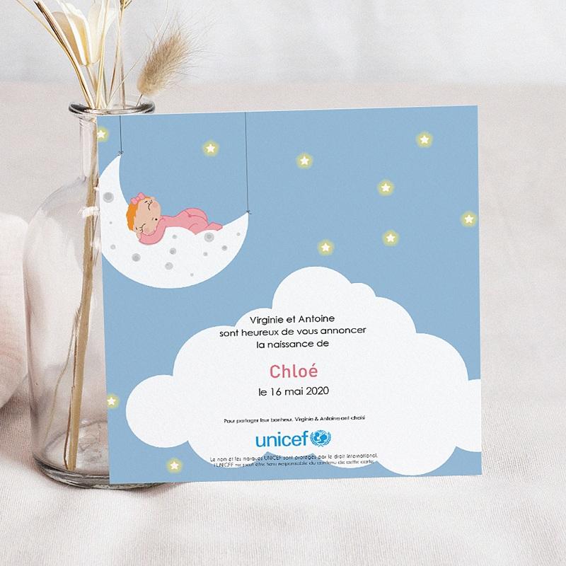 Faire-Part Naissance Fille UNICEF Perle de Lune pas cher
