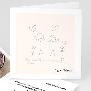 Faire-part naissance fille unicef dessin d'écolier sur mesure