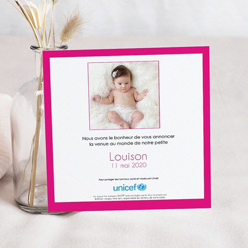 Faire-Part Naissance Fille UNICEF - Gommettes Fuchsia 46009 thumb