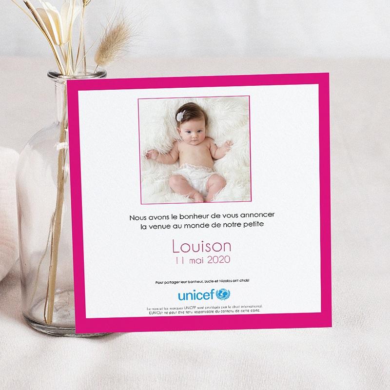 Faire-Part Naissance Fille UNICEF Gommettes Fuchsia pas cher