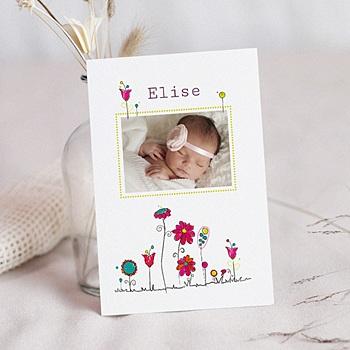 Acheter faire-part naissance fille unicef fleurs de bonheur