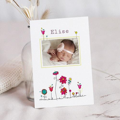 Faire-Part Naissance Fille UNICEF Fleurs de Bonheur